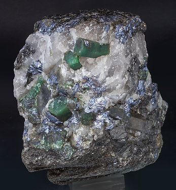 Beryl (variety emerald) with Molybdenite and Quartz. Side