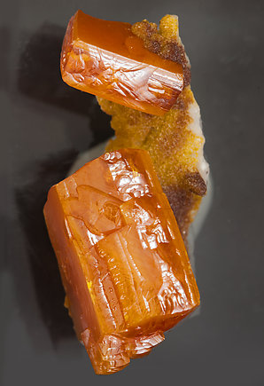 Wulfenite with As rich Vanadinite and Calcite. Top