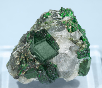 Uvarovite with Quartz.