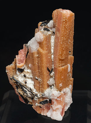 Rhodochrosite after Serandite with Analcime and Aegirine.