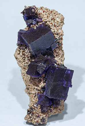 Fluorite with Sphalerite and Calcite. Side