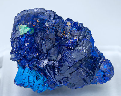 Azurite with Malachite after Cuprite. Front