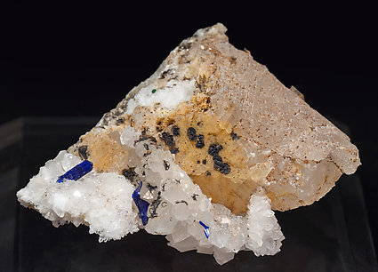 Azurite with Calcite and Quartz.