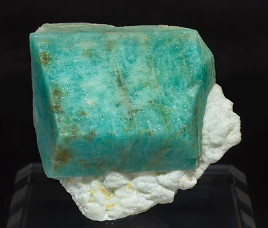Microcline (variety amazonite) with Albite.