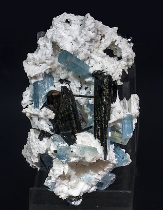 Beryl (variety aquamarine) with Schorl and Albite. Front