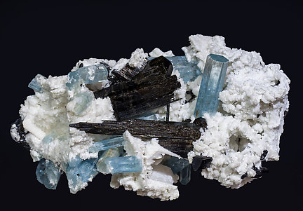 Beryl (variety aquamarine) with Schorl and Albite. Side