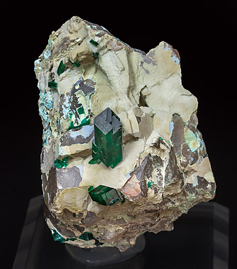 Dioptase with Plancheite and Quartz.