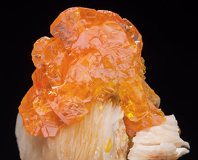 Wulfenite with Baryte. With slight light behind