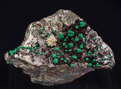 Malachite after Cuprite with Mimetite.