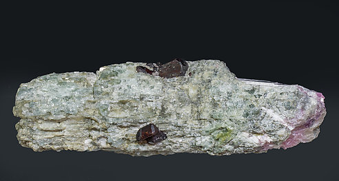 Tantalite-(Mn) on Lepidolite after Elbaite. Front