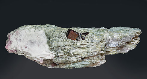 Tantalite-(Mn) on Lepidolite after Elbaite. Rear