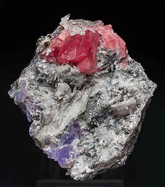 Rhodochrosite with Fluorite, Quartz and Pyrite.