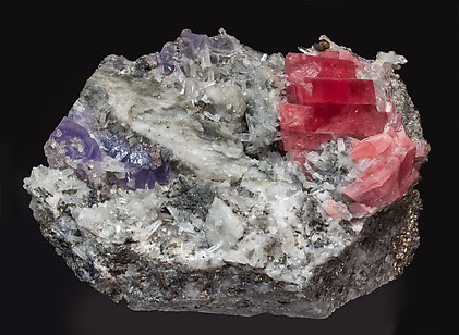 Rhodochrosite with Fluorite, Quartz and Pyrite. Side
