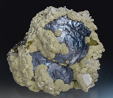 Galena with Siderite, Calcite, Chalcopyrite and Sphalerite. Front