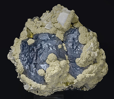 Galena with Siderite, Calcite, Chalcopyrite and Sphalerite. Side