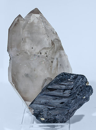 Quartz (variety smoky) with Ferberite. Rear