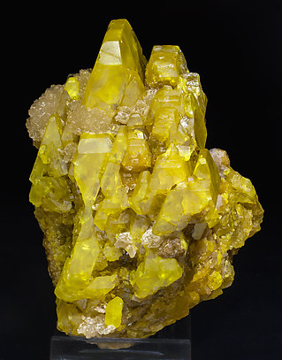 Sulfur with Calcite. Front