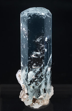 Beryl (variety aquamarine) with inclusions, Schorl and Albite. Front