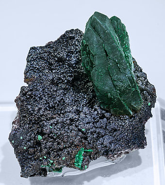 Malachite after Azurite with Goethite. Side