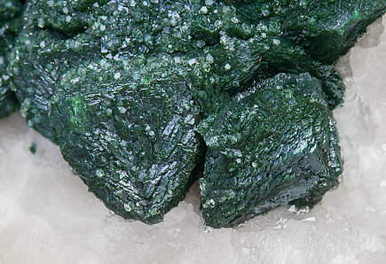 Malachite after Cuprite with Calcite.