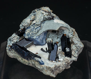 Neptunite with Benitoite and Joaquinite-(Ce).