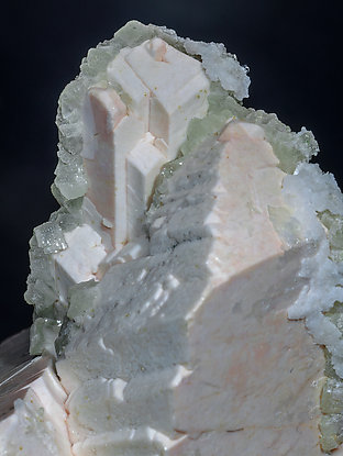 Microcline with Prehnite and Calcite.