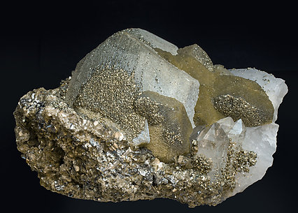 Siderite with Pyrite, Quartz and Muscovite. Side