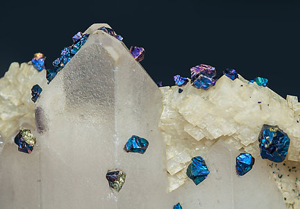 Chalcopyrite on Baryte, Dolomite, Calcite and Pyrite.