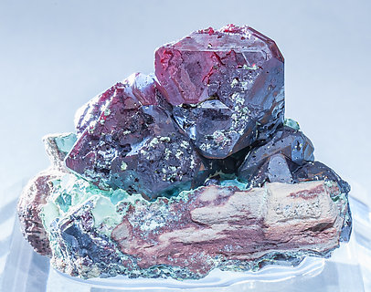 Cuprite with Chrysocolla. Light behind
