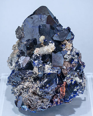 Azurite with Cerussite and Calcite. Front