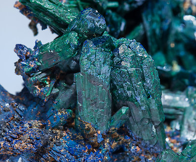 Malachite after Azurite with Azurite.