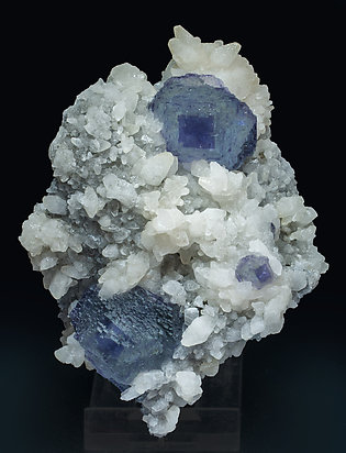 Fluorite with Calcite, Quartz and Pyrite.