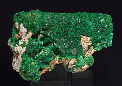 Malachite after Azurite with Quartz and Cerussite. Front