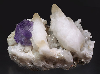 Fluorite with Calcite, Pyrite and Quartz.