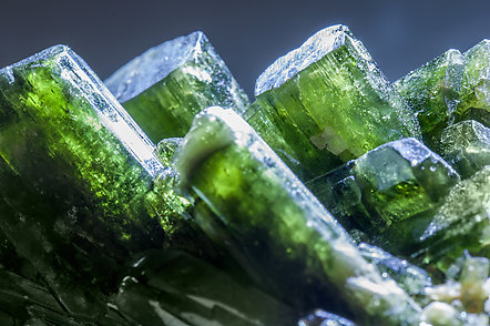 Diopside with Quartz. Light behind