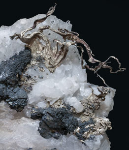 Silver with Acanthite and Quartz.