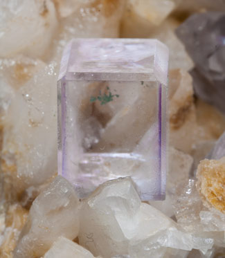 Fluorite with Calcite and Malachite.