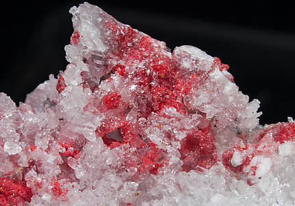 Cinnabar with Gypsum, Quartz and Calcite.