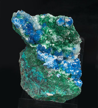 Shattuckite with Quartz and Malachite.