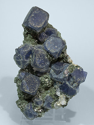 Fluorite with Pyrite, Muscovite and Chlorite.