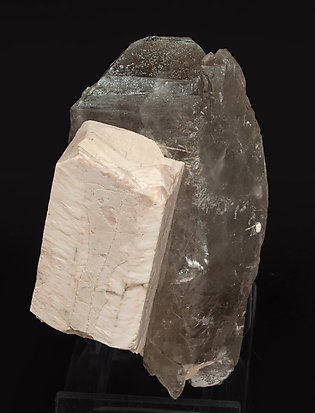 Microcline with Quartz (variety smoky). Front