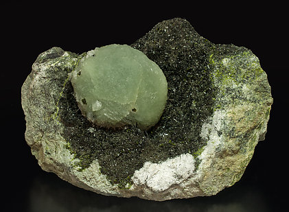 Prehnite with Epidote and Ferro-actinolite.