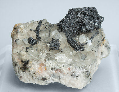Silver with Acanthite and Calcite.