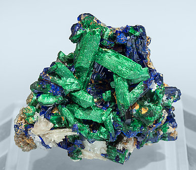 Malachite after Azurite with Cerussite.