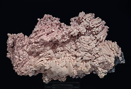 Rhodochrosite with Calcite and Boulangerite (variety plumosite). Front