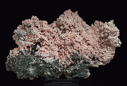 Rhodochrosite with Calcite and Boulangerite (variety plumosite). Rear