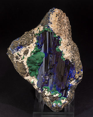 Azurite with Malachite and Dolomite. Front