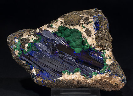 Azurite with Malachite and Dolomite. Side