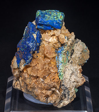 Chalcostibite with Azurite, Malachite and Calcite.