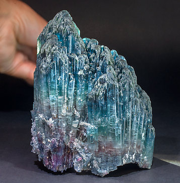 Elbaite (variety indicolite) with Quartz. With focused day light behind